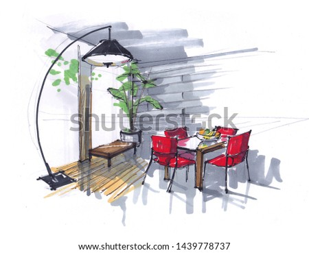 sketch of the dining room. flowers, table and red chairs in the area with large Windows. large designer floor lamp. hand-drawn interior
