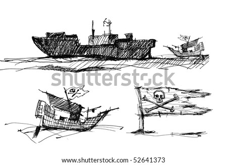 Sketch on a piracy theme, the black-and-white image on the isolated white background