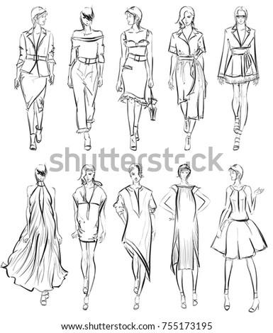 SKETCH. Set of Fashion model on a white background.
