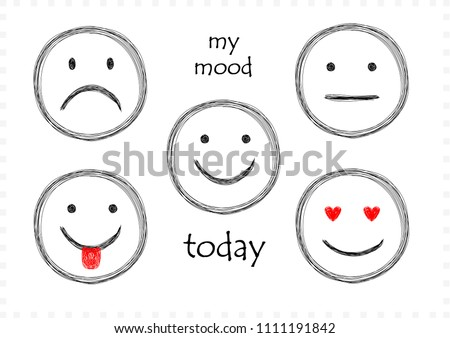 sketch set of five smilies with differetn emotions for every day isolated on white, horizontal illustration