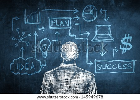 Sketch successful businessman concept with solution diagram