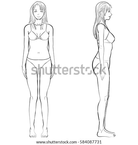 4b2198bea sketch template girl illustration woman body front and side view in outline   584087731