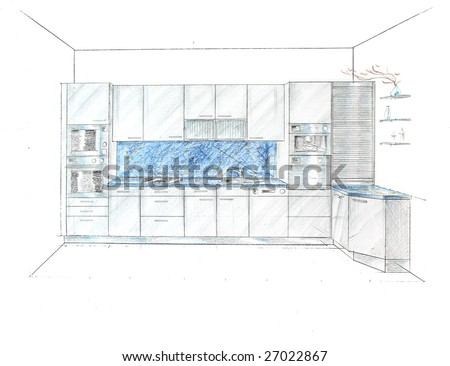Kitchen Design Sketch on Sketch  The Kitchen Modern Design Project Stock Photo 27022867