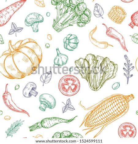 Sketch vegetables seamless pattern. Vegetable soup organic farm food vegetal background