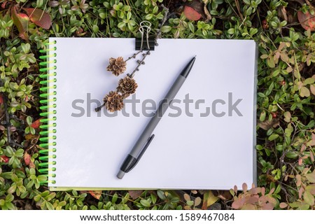 Sketchbook for drawing, opened on a white blank sheet, lies on the ground (on the green tundra), on a notebook lies a mechanical pencil