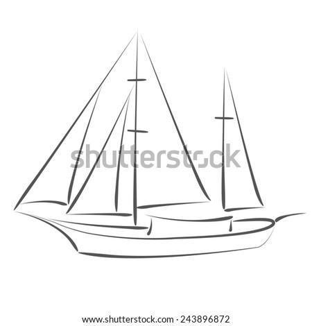 sketched sailboat yacht design template for label banner postcard
