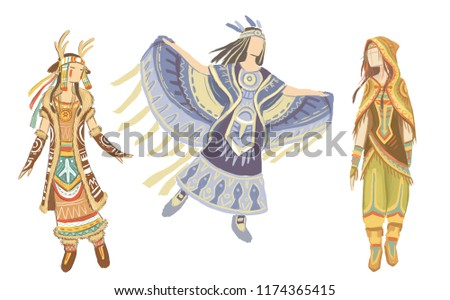 Sketches Evenki national festive costumes set, isolated on the white background. Indigenous peoples of Eastern Siberia, design based on folk cultures. Deer costume, bird costume.