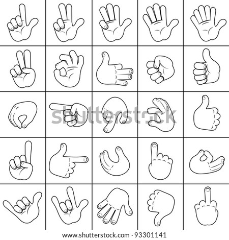 Sketching Human Hand. Large Collection of Hands Icons, Signs.