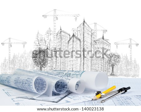 sketching of modern building construction and  blueprint on architect working table