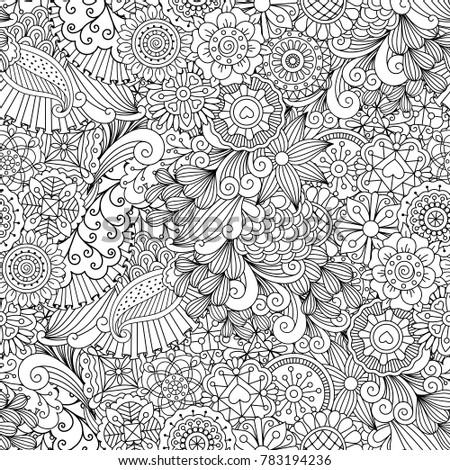 Sketchy doodles decorative floral outline ornamental pattern