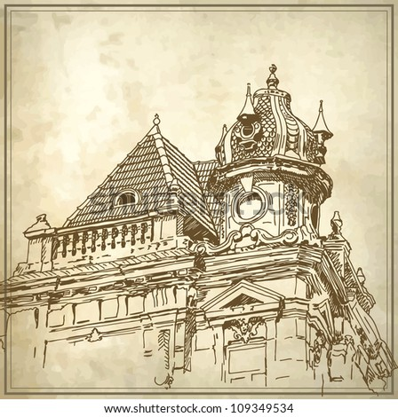Sketchy drawing of historical building in grunge background. Raster version
