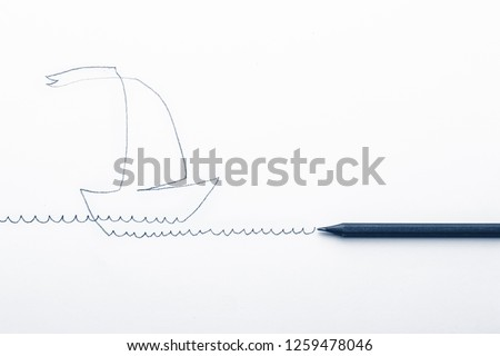 Sketchy linear drawing of a ship with a sail and a pencil #1259478046