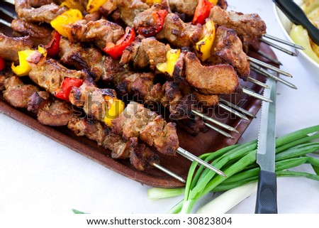 Skewer - big Plate with grilled,mixed meat and vegetables