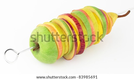 Skewer of mixed slices fruits