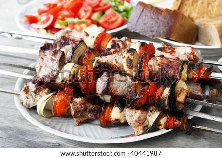 Skewers with a shish kebab