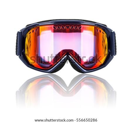 Ski and snowboard mask closeup isolated on white background