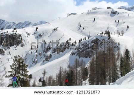 Ski area Faloria, Dolomitas, Italy Foto stock ©