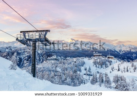 Ski center of Vogel, Triglav natural park, Julian Alps, Slovenia, Europe. Stockfoto ©