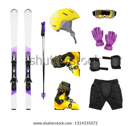 Ski equipment and accessories isolated on white background. Ski boots, helmet, gloves, etc.