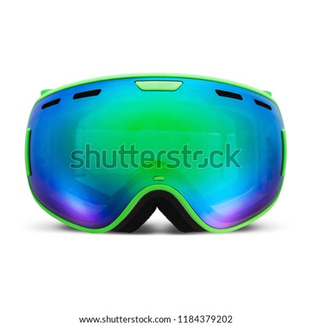 Ski Goggles Isolated on White Background. Front View of Mask Ski Glasses with Photochromic Blue and Green Lens. Modern Snowboard Goggles. Snowboarding Protective Ski Gear. Skiing Equipment