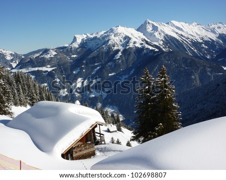 Ski huts in the snowy mountains