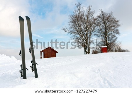 Ski in snow in mountains