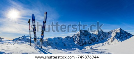 Ski in winter season, mountains and ski touring backcountry equipments on the top of snowy mountains in sunny day. South Tirol, Solda in Italy. #749876944