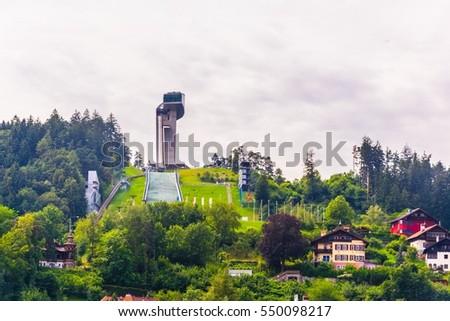 ski jump stadium overlooking Innsbruck town in Austria.