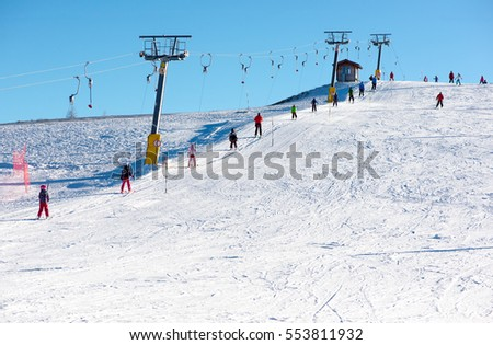 Ski lift and ski slope for beginners  #553811932