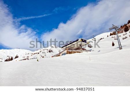 Ski lift in Mayrhofen winter resort, Austria