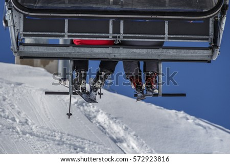 Ski lift in the ski region of the Hintertuxer Glacier (Tuxer Ferner) in Tyrol, Austria to the top of the mountain #572923816