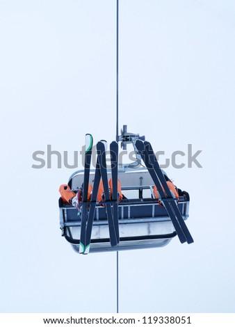 ski lift outside  winternature and sport background