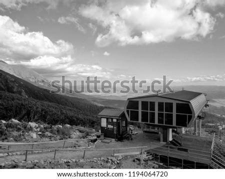 Ski lift station at Strbske Pleso in High Tatras, Slovakia. Station at cottage Solisko 1840 m asl. Black and white #1194064720