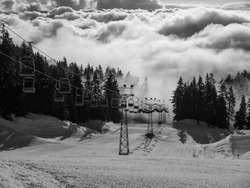 Ski Lift through the clouds