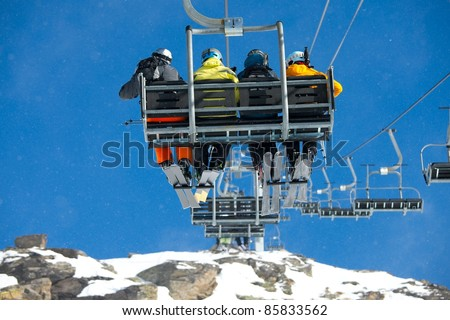 SKi Lift with falling snow