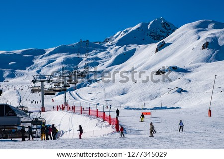 Ski lifts for ski and snowboard players for winter holiday in Alps area, Les Arcs 2000, Savoie, France, Europe #1277345029