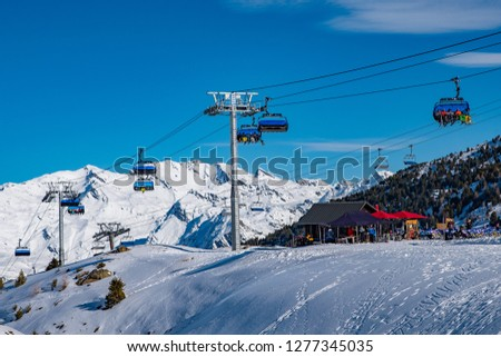 Ski lifts for ski and snowboard players for winter holiday in Alps area, Les Arcs 2000, Savoie, France, Europe #1277345035