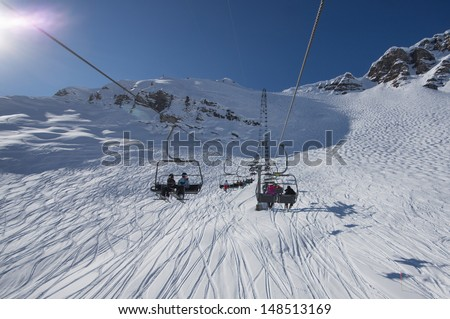 ski lifts with people #148513169