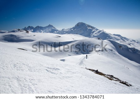 Ski mountainers ascending the mountain on touring skis in fine  weather. Thera are a paradise for tour skiing and snowshoeing. Slovenia, Julian Alps, Komna  #1343784071