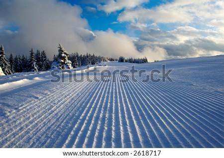 Ski piste ready for skiers