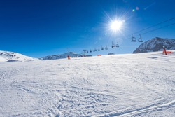 Ski pistes/slopes and chairlift at the Baqueira ski resort, at the Spanish Pirineos