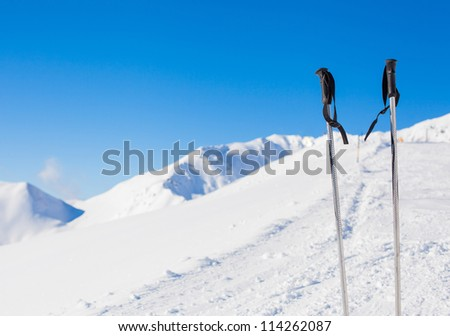 Ski poles. The Alpine skiing resort in Austria Zillertal