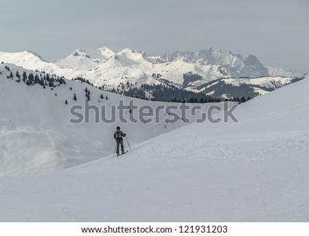 Ski region of the Zell-am-See, Austria - stock photo