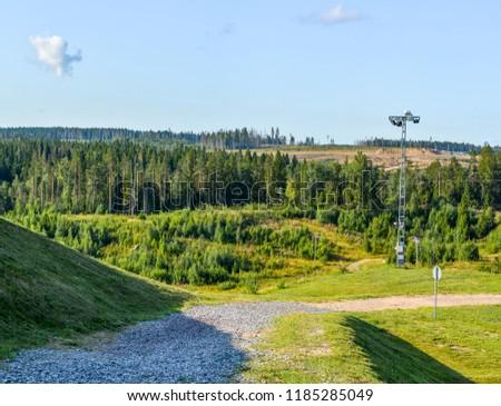 """Ski resort """"Igor"""" in the Leningrad region in the summer.  Summer slopes.  #1185285049"""