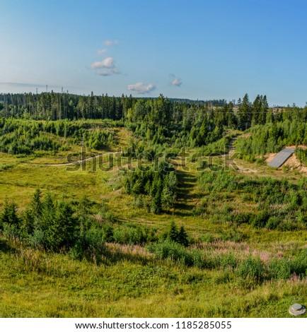 """Ski resort """"Igor"""" in the Leningrad region in the summer.  Summer slopes.  #1185285055"""