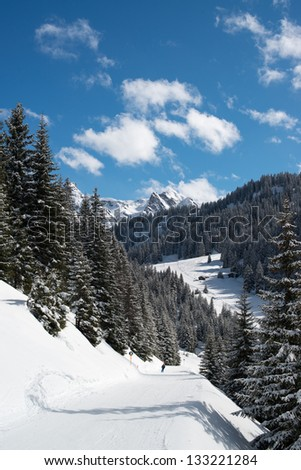 Ski resort in the Alpes in a valley of Montafon