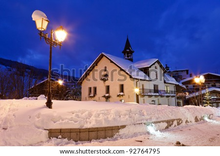 Ski Resort Megeve in French Alps at Night