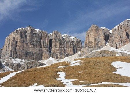 Ski resort of Val di Fassa, Dolomites, Italy
