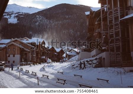 Ski resort sunny day vintage photo