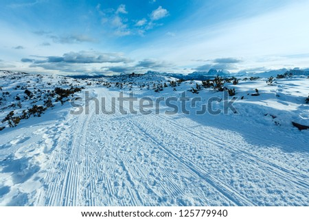 Ski run and beautiful winter mountain landscape  (Rittner or Ritten Horn, Italy)